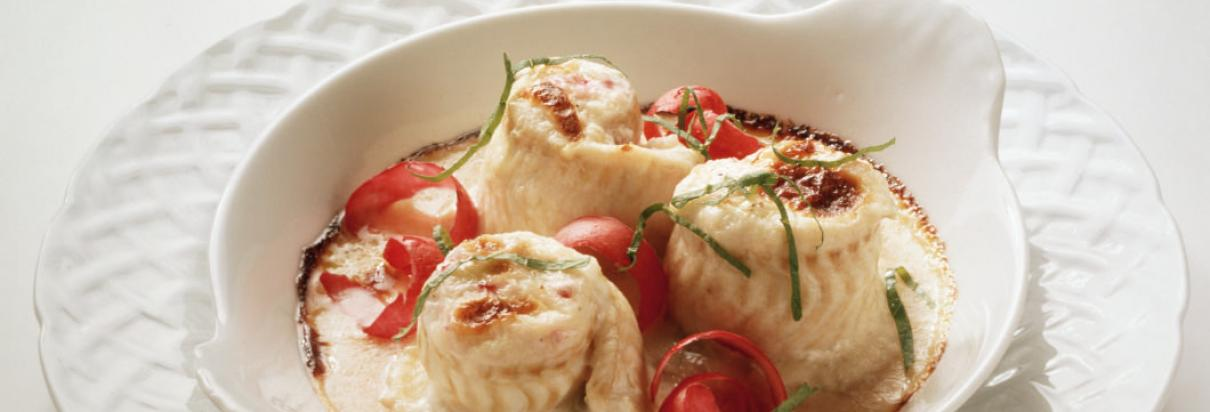Fish roulade in mustard sauce